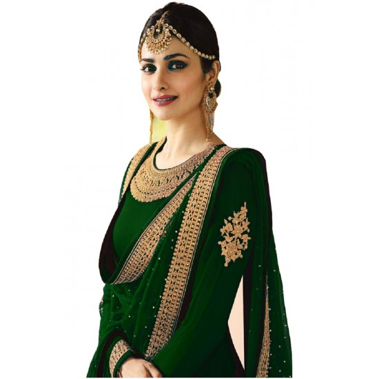 Excellent Partywear Green Colored Havy Embroidered Anarkali Suit