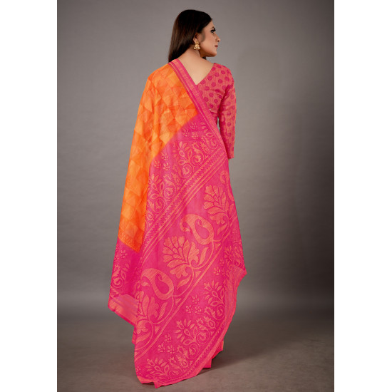 Adorable Pink and Yellow Color Printed Cotton Brasso Saree