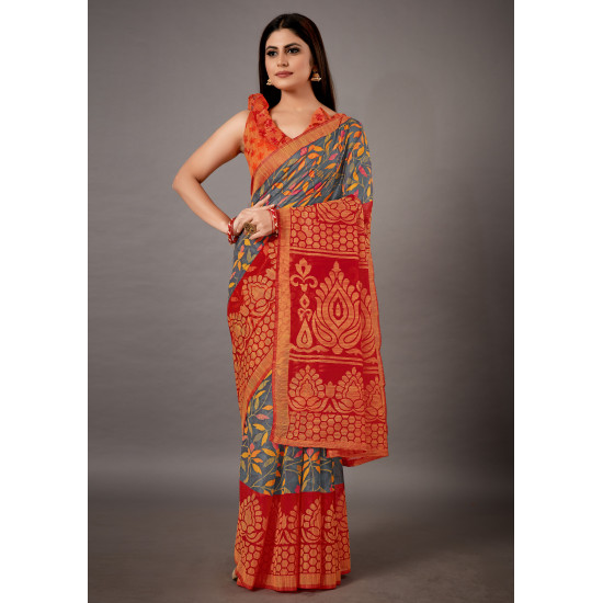Red and Yellow Color Designer Cotton Brasso Saree for Women