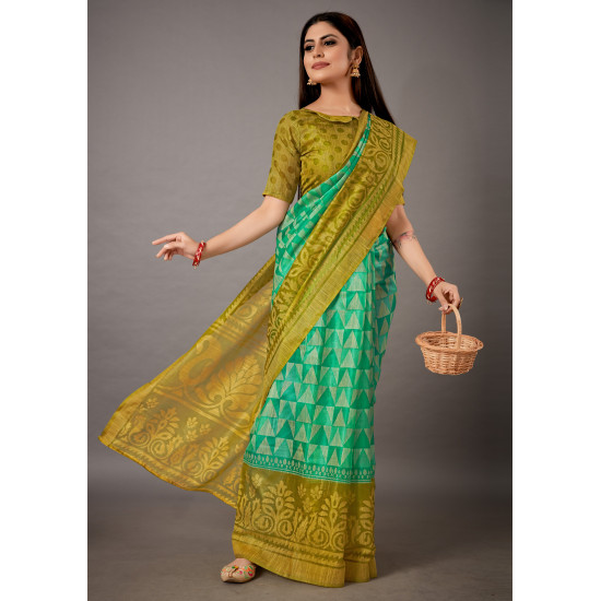 Parrot and Mustard Color Cotton Brasso Silk Saree