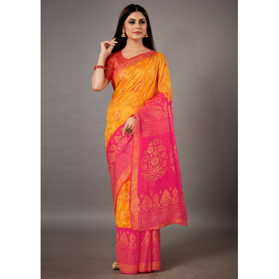 Designer Pink and Yellow Color Cotton Brasso Saree