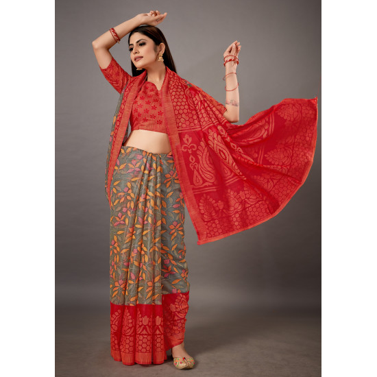 Red and Grey Color Floral Printed Brasso Saree